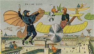 Uçan trafik polisleri, tek kişilik uçan cisimlerle seyir halindeki insanlara trafik kontrolü uyguluyor... Bu kartpostaldaki en ilginç şey, havada çok fazla trafik varken, karada trafiğin çok az olması. Ve elbette polisin sağ elindeki copunun 90 yıl sonra bile öngörülmesi. Ki doğru!