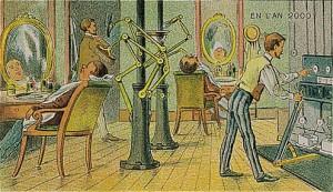 Kadınlar düşünülmüş de erkekler düşünülmemiş mi? Elbette düşünülmüş. Makyaj yapan robotun bir benzerinin berberlerin yerine kullanılacağı öngörülmüş...