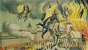 İtfaiyeciler de uçuyorlar. Hem de yarasa kanatlarına benzeyen ve sırta asılan bir aparat yardımıyla. Böylece yangına her türlü mübadele edebiliyorlar…