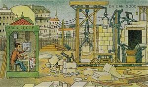 2000'de inşaat sektörü tamamen robotlaşacak öngörüsü. Bir kabinden birkaç düğmeye basarak tuğlaları yerine yerleştirebileceksiniz.