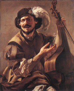 Hendrik ter Brugghen - A Laughing Bravo With a Bass Viol and a Glass