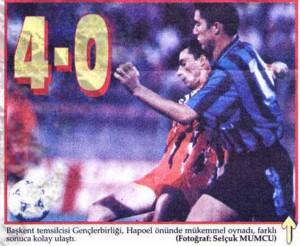 25 Haziran 1995 Genclerbirligi 4-0 Hapoel Petah-Tikva