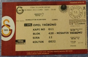 8 Mart 2013 - Galatasaray0-1Genclerbirligi Turk Telekom Arena Bilet