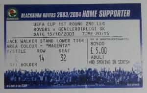 15.Ekim.2003.UEFA.Kupasi.1.Tur.2Maci.BlackburnRovers1-1Genclerbirligi.Mac.Bileti
