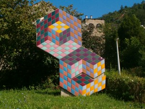 Vasarely artwork at the church of Palos in Pecs