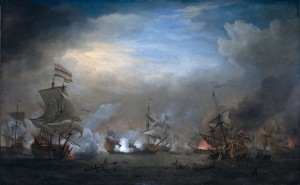 Willem van de Velde the Elder - Battle of Texel August 21 1673 Slag Bij Kijkduin - Nightly Battle Between Cornelis Tromp and Eward Spragg (1707)
