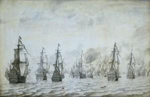Willem van de Velde the Elder - Zeeslag bij Duinkerken 18 Februari 1639 (1659)