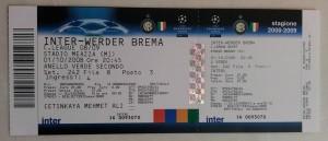 01 Ekim 2008 - Inter Milan - Werder Bremen Mac Bileti
