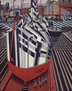 Edward Wadsworth - Dazzle-ships in Drydock at Liverpool (1919)