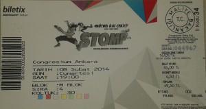 Stomp Konser Bileti - 8 Subat 2014, Congressium, Ankara