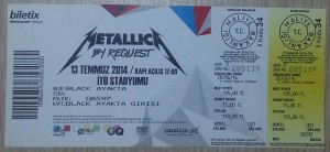 Metallica by Request - 13 July 2013, Istanbul - Ticket