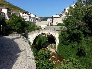 13 Temmuz 2015, Egri Kopru aka Kriva Cuprija aka Crooked Bridge, Mostar, Bosna-Hersek