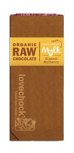 Lovechock – Almond & Mulberry Organik Raw Vegan Mylk (Badem ve Dutlu, Vegan Sutlu Ham Organik Cikolata)