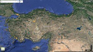 24 Agustos 2016 - Yildiz Haritasi (Turkiye)