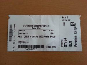 24 Temmuz 2016 - IFK Göteborg -Jönköpings Sodra IF Bilet, Gamla Ullevi, Goteborg, Isvec